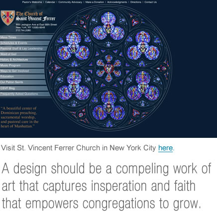 church web design of st vincent ferrer